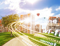 City under cloudy blue sky Royalty Free Stock Images