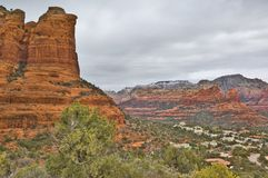 City Under the Coffee Pot. The city of Sedona Arizona under its famous Coffee Pot Rock Royalty Free Stock Image