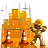 City under construction funny 3d icon. City sign under construction funny 3d icon illustration Royalty Free Stock Image