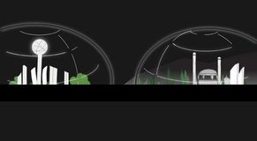 City Under Dome Illustration On Black Background royalty free illustration