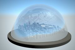 City under a glass dome. 3d rendering Royalty Free Stock Photos