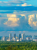 City under the heavy clouds Royalty Free Stock Photo