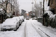 City under the snow. A city in france covered under the snow. another way of visiting europe Royalty Free Stock Photos