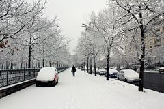 City under snow Royalty Free Stock Photos