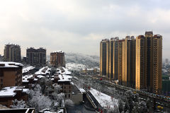 City under the snow. In the winter, the whole city was covered with snow, in Chongqing of China stock photo
