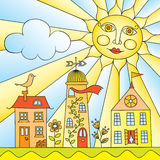 The City under The Sun. Child's Drawing of City under Sun Stock Illustration