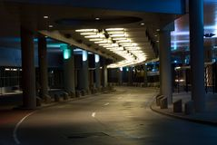 City Underpass at night. A night shot of a modern underpass in the city at night - Stout Street Underpass by the Colorado Convention Center Stock Photos