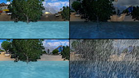 City from underwater and from the above. In four screens stock footage