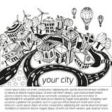 City. Unusual perspective of the city, drawn sketch, vector illustration Stock Illustration