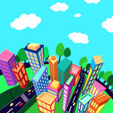 City. Unusual perspective of the city, drawn sketch, vector illustration Royalty Free Stock Photo