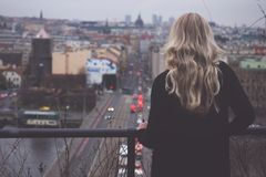 City, Urban Area, Sky, Girl Royalty Free Stock Images