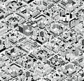 City Urban Blocks Isometric Seamless Pattern - Large Stock Photography