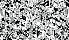 City Urban Blocks Isometric Seamless Pattern - Small Royalty Free Stock Images