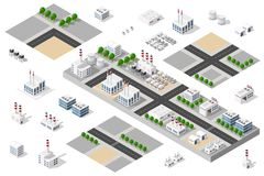 City urban factory. Isometric 3D city urban factory set which includes buildings, power plant, heating gas, warehouse, elevator exterior. Flat map isolated Royalty Free Stock Photography