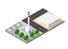 City urban factory. Isometric 3D city urban factory which includes buildings, power plant, heating gas, warehouse, elevator exterior. Flat map isolated Stock Image