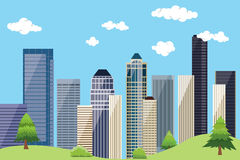 City urban landscape with building skyscrapper and blue sky  green tree Stock Photos