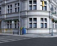 City Urban Street Corner Background, Illustration Stock Image