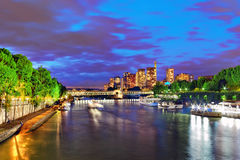 City, urban  view of Paris  from Seine river. Stock Photo