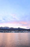 City of Ushuaia at the sunset. Royalty Free Stock Photos