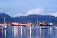 City of Ushuaia at the sunset. Royalty Free Stock Photo