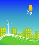 City using clean energy vector illustration