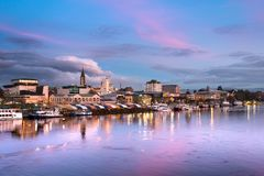 The city of Valdivia at the shore of Calle-Calle river, Chile stock photography