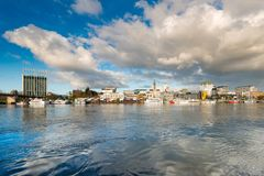 The city of Valdivia at the shore of Calle-Calle river, Chile. The city of Valdivia at the shore of Calle-Calle river, Region de Los Rios, Chile royalty free stock image
