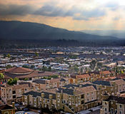 City in a valley Stock Photos