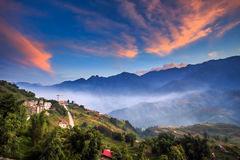 City in valley. Tam Valley city center at morning.Vietnam Royalty Free Stock Images