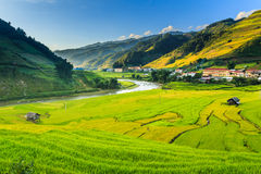 City in valley. Tam Valley city center .Vietnam Stock Image