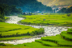 City in valley. Tam Valley city center ,Vietnam Royalty Free Stock Images