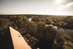 City of Valmiera in Latvia from above - vintage retro look. City of Valmiera in Latvia from above. panoramic image of urban area - vintage retro look royalty free stock images