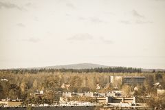 City of Valmiera in Latvia from above - vintage retro look. City of Valmiera in Latvia from above. panoramic image of urban area - vintage retro look stock image
