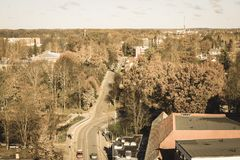 City of Valmiera in Latvia from above - vintage retro look. City of Valmiera in Latvia from above. panoramic image of urban area - vintage retro look royalty free stock image