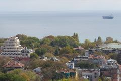 City of Varna, Bulgaria, Seen from above. Aerial photo with the Black sea behind. Summer holiday vacations Stock Images
