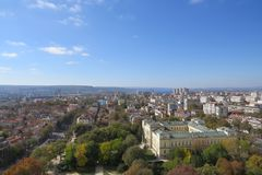 City of Varna, Bulgaria, Seen from above. Aerial photo with the Black sea behind. Summer holiday vacations Royalty Free Stock Photo