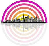 City Vector. Vector - Brightly lit modern city with reflections