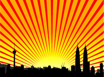 City Vector. Vector - Brightly lit modern city with reflections and starburst effect
