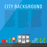 City vector background with place for your text. Modern flat design. Royalty Free Stock Photo