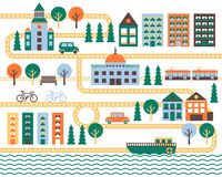 City vector background with road. Minimalistic design. Stock Photo