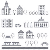 City vector gray set (houses, road, car, trees, transport). Minimalistic outline design. Icons set Stock Photography