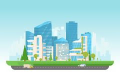 Modern city with cars. City vector illustration. Small building, big skyscrapers and large smart city tall skyscrapers on background. Urban street with park and royalty free illustration