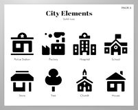 City elements Solid pack. City vector illustration in solid color design royalty free illustration