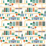 City vector seamless pattern with road. Minimalistic design. Royalty Free Stock Photo