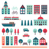 City vector set (houses, road, car, trees, transport). Minimalistic design. Light blue, light orange, pink-red and turquoise Stock Photos