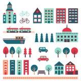 City vector set (houses, road, car, trees, transport). Minimalistic design. Stock Photos