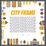City vector square frame (with houses, road, car, trees, transport). Minimalistic design. Yellow-orange, brown, gray. City vector square frame (with houses, road Stock Image