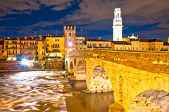 City of Verona Adige riverfront evening view Stock Images