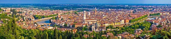 City of Verona old center and Adige river aerial panoramic view Royalty Free Stock Image