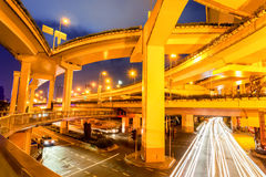 City viaduct closeup at night. City elevated road closeup, under the interchange overpass at night, shanghai, China Stock Photography